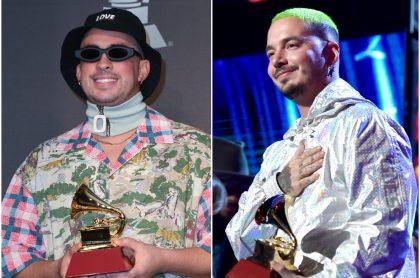Bad Bunny y J Balvin en los Latin Grammy 2019; este año podrían también salir con gramófono gracia a sus nominaciones a los Latin Grammy 2020.