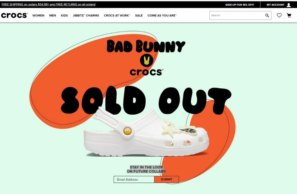 Captura de pantalla Crocs.com.