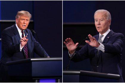 Donald Trump y Joe Biden en el debate presidencial en Estados Unidos.
