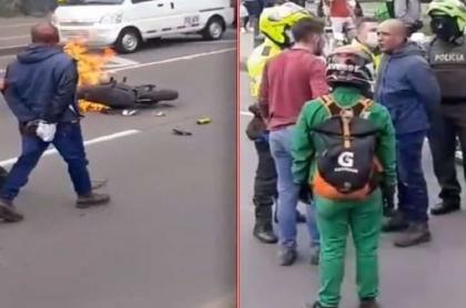 Imágenes de la quema de moto a presuntos fleteros en Bogotá