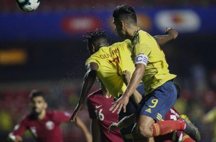Duván Zapata y Radamel Falcao en la Copa América de 2019, a propósito del comentario que hizo Faustino Asprilla.