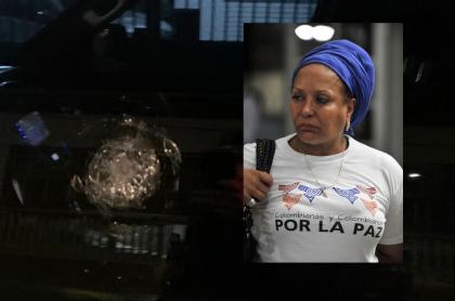 El impacto de un disparo en la ventana del conductor de una de las camionetas del esquema de seguridad de la exsenadora Piedad Córdoba, la noche del 30 de septiembre del 2020.