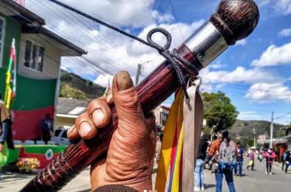 Imagen de un indígena que invita a la protesta que planean comunidades del Cauca