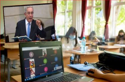 """Imagen de Álvaro Uribe en el Senado, político al que un profesor lo tildó de """"delincuente"""""""