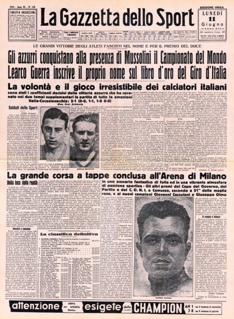 Primera página de la Gazzetta dello Sport, en 1934. / Getty Images.