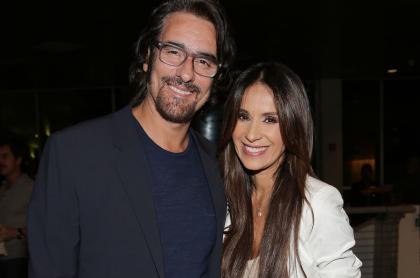 Miguel Varoni ('Pedro, el escamoso') con Catherine Siachoque, su esposa y una de las actrices con las que tuvo historias de amor, en la proyección de 'No Good Deed' en 2014.