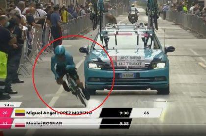 Caída de Miguel Ángel López en etapa 1 del Giro de Italia