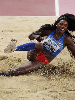 Caterine Ibargüen, quien aclaró si quiere ser congresista, en la final de triple salto del Campeonato Mundial de Atletismo de 2019.