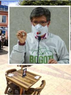 El Chorro de Quevedo, en Bogotá, junto a foto de alcaldesa Claudia López, para ilustrar que el Banco Mundial negó tener un 'ranking' de ciudades ejemplo en reactivación post COVID-19.