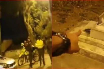 Imágenes de los policías observando la denuncia sobre una supuesta bruja en Ibagué