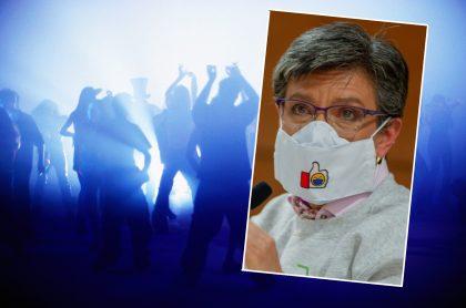 Imágenes de discoteca y Claudia López ilustra nota sobre que bares para bailar no abrirán sino hasta el otro año