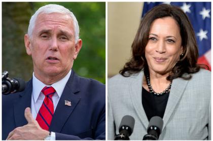 Fotos de Mike Pence y Kamala Harris, fórmulas vicepresidenciales de Donald Trump y Joe Biden, respectivamente. Ellos debatirán el 7 de octubre.