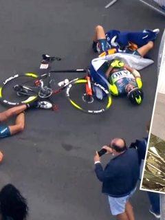 Etienne van Empel y Luca Wackermann (foto), accidentados en el Giro de Italia por culpa de un helicóptero.