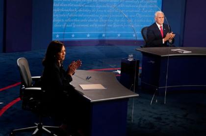 Kamala Harris (izquierda) y Mike Pence (derecha), durante el debate vicepresidencial de este miércoles 7 de octubre en Estados Unidos.
