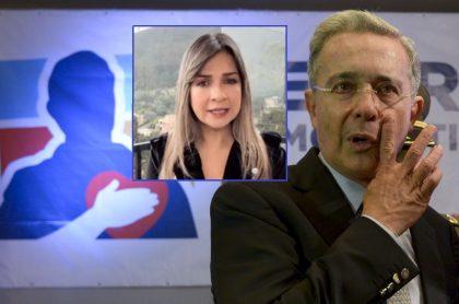 Álvaro Uribe en la sede del partido Centro Democrático, que se solidarizó con Vicky Dávila por un fallo en contra, y la periodista