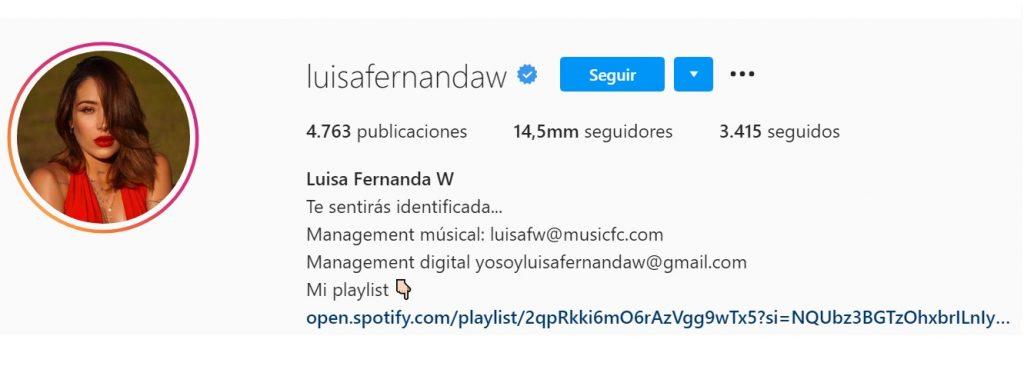 Captura de pantalla Instagram luisafernandaw.