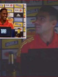 Falcao y Yerry Mina estaban en rueda de prensa cuando hubo un corte de energía