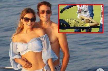 Santiago Arias y su esposa, quien se mostró bastante dolida por la lesión de él en el partido Colombia vs. Venezuela