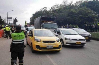 Imagen del tráfico en Bogotá, a propósito del puente festivo de octubre.