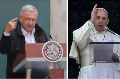 Presidente de México, Andrés Manuel López Obrador, quien pidió que iglesia Católica se disculpe por abusos de conquista española, durante un evento público en Ciudad de México / Papa Francisco, a quien AMLO le hizo la petición, durante el ángelus del 11 de octubre de 2020.