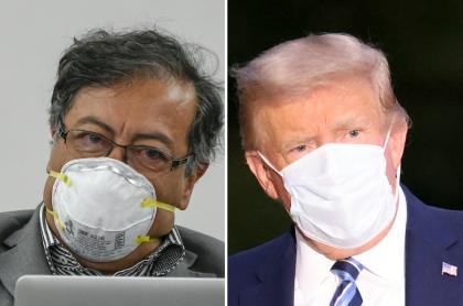 Gustavo Petro, que protagonizó video de Donald Trump contra el castrochavismo, y el presidente de Estados Unidos. (Fotomontaje de Pulzo)
