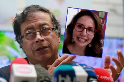 Gustavo Petro, que arremetió contra Paola Ochoa, y la periodista de Blu Radio. (Fotomontaje de Pulzo).