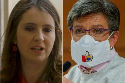 """Paloma Valencia, que le pidió a Claudia López no culpar al Gobierno por """"regar COVID"""", y Claudia López"""