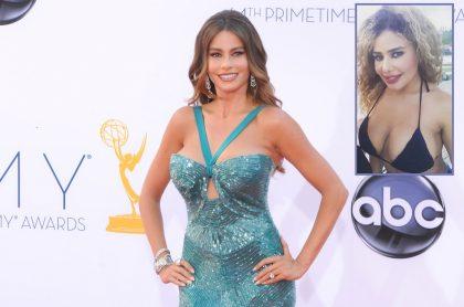 Sofía Vergara, actriz que hizo oso en premios Emmy 2012, parecido al de Lindagus Correa en Miss Tanga 2020 (fotomontaje Pulzo).