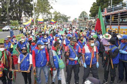 Imagen de la minga indígena, que completó su primera marcha en Bogotá con normalidad