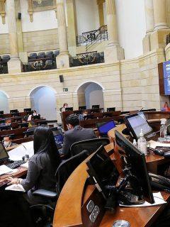 El presidente del Senado, Arturo Char, lidera la sesión en la que se aprobó el Presupuesto General de la Nación.