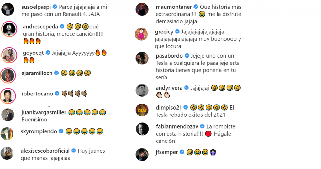 Capturas de pantalla Instagram Juanes.