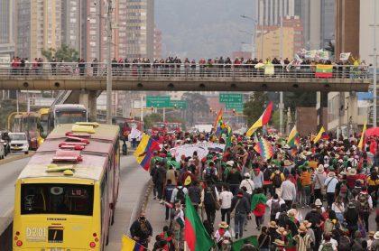 Marchas en Bogotá, a propósito del Paro Nacional del 21 de octubre.