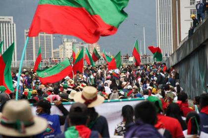 Marcha de la minga indígena de octubre del 2020.
