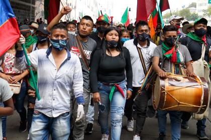 Integrantes de la minga indígena en Bogotá.