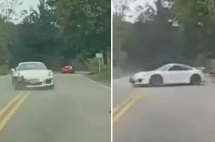Carro Porsche que atropelló a ciclista en Santander, y que recibió multa