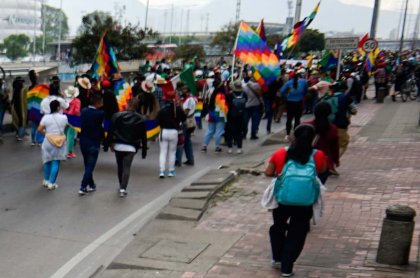 Integrantes de la minga indígena en Bogotá
