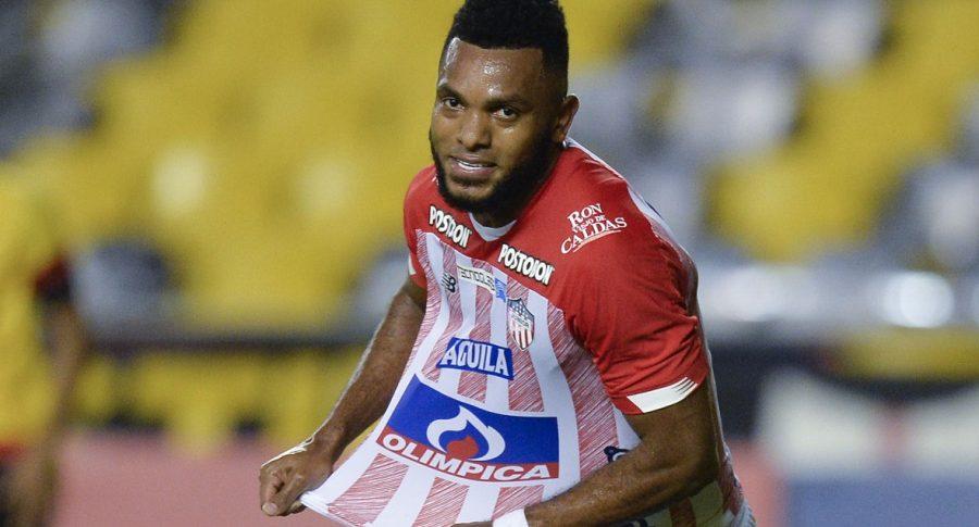 Miguel Borja celebrando un gol con el Junior, Copa Sudamericana: cuadro rondas finales con equipos colombianos
