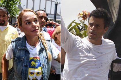 Lilian Tintori y su esposo Leopoldo López, quienes se reencontraron en Madrid, España, luego de que el líder opositor se le volara a Maduro de Venezuela (fotomontaje Pulzo).