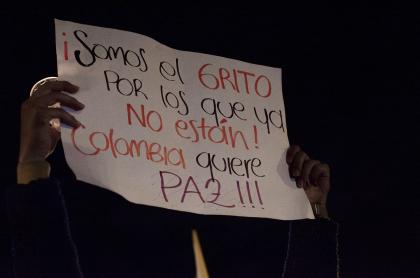 Pancaerta de una de las marchas en protesta por el asesinato de líderes sociales en Colombia.