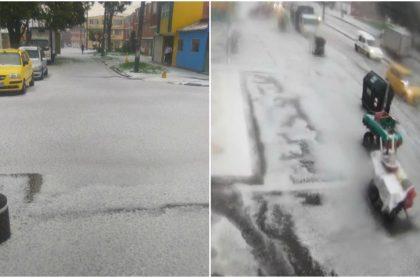 Granizada en Bogotá dejó teñidas de blanco a varias calles de la capital.