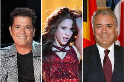 Fotomontaje de Carlos Vives, Shakira e Iván Duque, de quienes cirujana dijo qué cirugías se han hecho