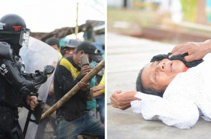 Indígenas heridos por desalojo del Esmad en Leticia, Amazonas