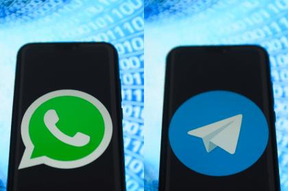 Logotips de WhatsApp y Telegram para ilustrar nota sobre qué aplicación consume más datos en videollamada