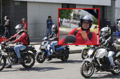 Motos en Colombia y captura de pantalla de motociclista que le escupió a enfermera en Medellín
