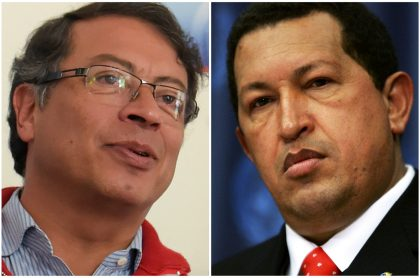 """Gustavo Petro y Hugo Chávez, a quienes Marta Lucía Ramírez comparó por su """"perverso liderazgo""""- (Fotomontaje de Pulzo)"""