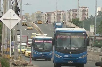 Imagen de los buses en Barranquilla, a propósito de un reciente caso de atraco.
