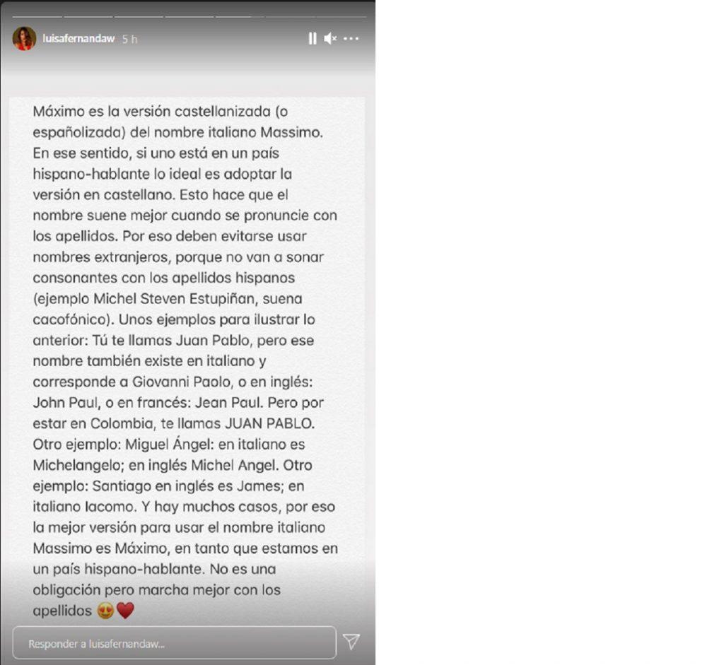 Captura de pantalla historia Instagram luisafernandaw.