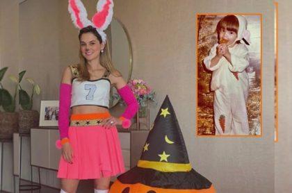 Catalina Gómez con disfraz de coneja antes y después, a propósito de top de disfraces de famosos antes de la fama.