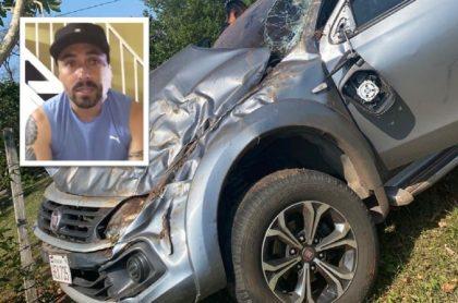 Así quedó la camioneta de Vladimir Marín, exjugador de Atlético Nacional y la Selección Colombia, luego de fuerte accidente en Paraguay.