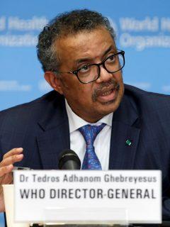 Tedros Adhanom Ghebreyesus, director de la OMS, en medio de una rueda de prensa.